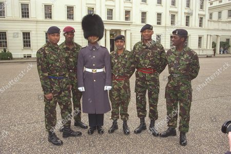 Black Soldiers Parade At Wellington Barracks L-r: Elton George Leslie Lewis Vincent Peters Ashok Chauhan Paul Nelson And John Swanston.