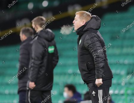 Steamy breath in the air as Celtic Manager Neil Lennon shouts at his players