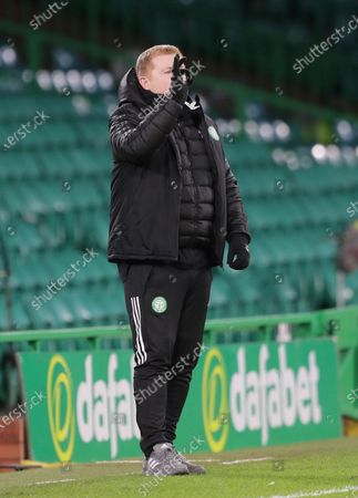 Celtic Manager Neil Lennon makes a hand gesture from the technical area