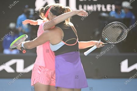 Stock Picture of Elise Mertens and Aryna Sabalenka celebrates victory after winning the Doubles Final