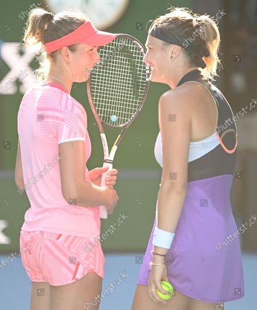Elise Mertens and Aryna Sabalenka during the Womens Doubles Final
