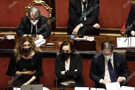(L-R) Erika Stefani, Luciana Lamorgese e Roberto Garofoli during the discussion at the Senate ahead of a confidence vote, in Rome, Italy, 17 February 2021. The new government will face vote of confidence in the Senate on 17 February and later another vote in the lower chamber on 18 February. Draghi and his new cabinet were sworn in before President Sergio Mattarella on 13 February 2021.