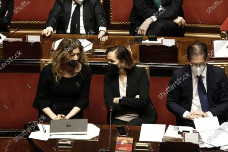 (L-R) Erika Stefani, Luciana Lamorgese and Roberto Garofoli during the discussion at the Senate ahead of a confidence vote, in Rome, Italy, 17 February 2021. The new government will face vote of confidence in the Senate on 17 February and later another vote in the lower chamber on 18 February. Draghi and his new cabinet were sworn in before President Sergio Mattarella on 13 February 2021.