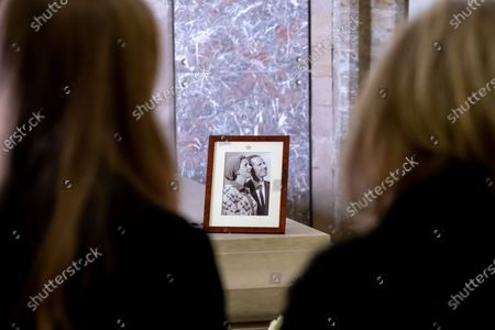 Stock Picture of Princess Astrid of Belgium and Princess Laetitia Maria pictured at a visit to the the Royal Crypt in the church Notre-Dame de Laeken / Onze-Lieve-Vrouwkerk van Laken in Brussels, Wednesday 17 February 2021.