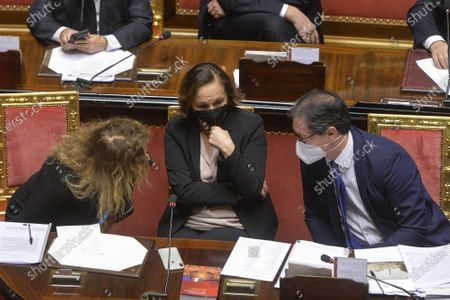Minister of Disability Erika Stefani, Minister of Interior Luciana Lamorgese, Undersecretary of Presidence Roberto Garofoli during the general discussion on confidence vote at the Senate