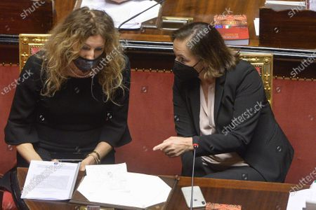 Minister of Disability Erika Stefani, Minister of Interior Luciana Lamorgese during the general discussion on confidence vote at the Senate