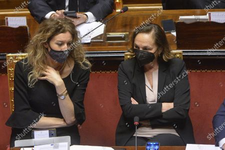 Minister of Disabiliry Erika Stefani, Minister of Interior Luciana Lamorgese during the general discussion on confidence vote at the Senate