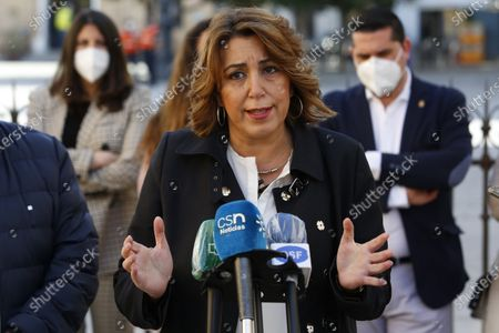 Susana Diaz, the General Secretary of PSOE in Andalusia, visits the damaged buildings by earthquakes in Santa Fe, Granada, on February 17, 2021.