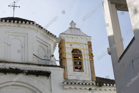 A bell tower damaged by earthquakes in Santa Fe. Susana Diaz, the General Secretary of PSOE in Andalusia, visited the damaged buildings by earthquakes in Santa Fe, Granada, on February 17, 2021.