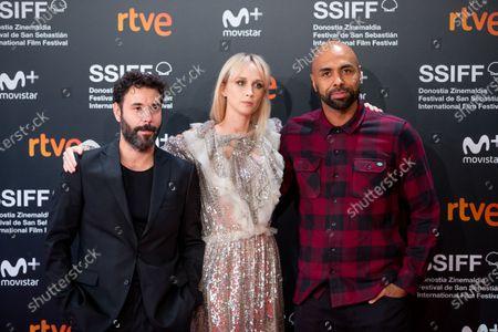 Stock Picture of Actor Miquel Fernandez, actress Ingrid Garcia-Jonsson and singer El Chojin attends the Donostia Award photocall during the 66th San Sebastian International Film Festival on September 22, 2018 in San Sebastian, Spain.