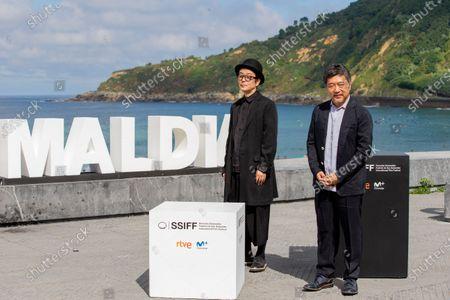 Hirokazu Kore'eda (R) and Lily Franky during the photocall for 'Donostia Award' at the 66th San Sebastian International Film Festival on September 23, 2018 in San Sebastian, Spain.