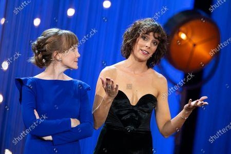 (L-R) Nagore Aranburu, Belen Cuesta attends the opening gala during 66th San Sebastian Film Festival at Kursaal, San Sebastian on September 21, 2018 in San Sebastian, Spain.
