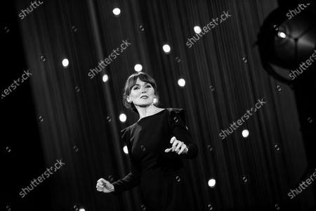 Stock Image of (EDITOR'S NOTE: Image was converted to black and white) Nagore Aranburu attends the opening gala during 66th San Sebastian Film Festival at Kursaal, San Sebastian on September 21, 2018 in San Sebastian, Spain.