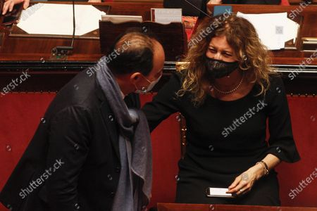 Disability Minister Erika Stefani with Andrea Marcucci attend the debate at the Senate ahead of a confidence vote, in Rome, Italy, 17 February 2021.