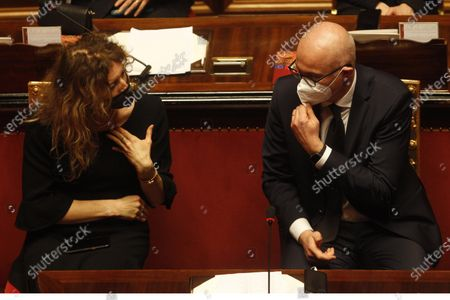 Disability Minister Erika Stefani and Relations with Parliament Minister Federico D'Inca' attend the debate at the Senate ahead of a confidence vote, in Rome, Italy, 17 February 2021.