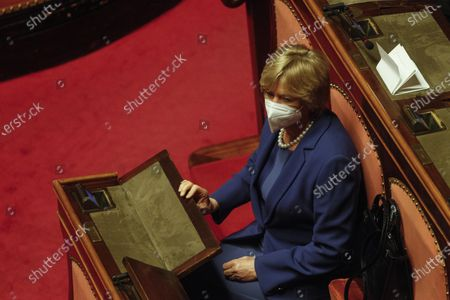 Stock Photo of Roberta Pinotti attends the debate at the Senate ahead of a confidence vote, in Rome, Italy, 17 February 2021.