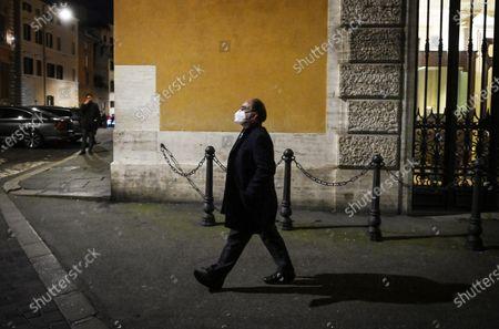 Stock Picture of Former senator Domenico Scilipoti passes by Palazzo Madama during the confidence vote at the Senate for Mario Draghi's Government, Rome, Italy, 17 February 2021.