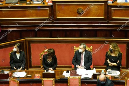 Mario Draghi, Italian Prime Minister (2R), Marta Cartabia, Justice minister, Elena Bonetti (L), minister for Equal opportunities, Erika Stefani, minister for Disabilities (R), attend the debate at the Senate ahead of a confidence vote, in Rome, Italy, 17 February 2021.