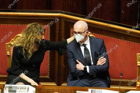 Erika Stefani minister for Disabilities and  Federico D'Inca minister for Relationships with the Parliament attend the debate at the Senate ahead of a confidence vote, in Rome, Italy, 17 February 2021.