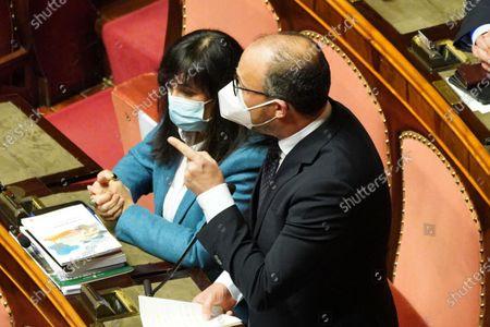 Stock Picture of Davide Faraone of Italia Viva attends the debate at the Senate ahead of a confidence vote, in Rome, Italy, 17 February 2021.