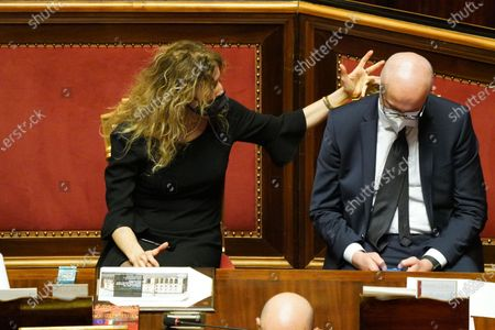Erika Stefani and Federico d'Inca attend the debate at the Senate ahead of a confidence vote, in Rome, Italy, 17 February 2021.