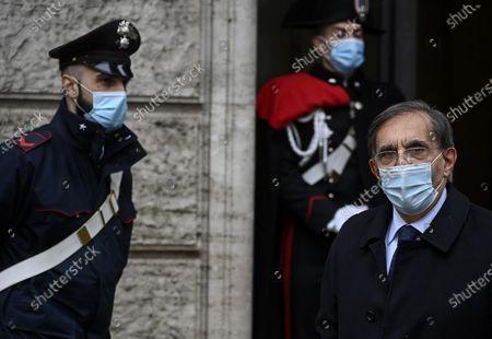 Senator of Fratelli d'Italia Ignazio La Russa (R) during the confidence vote at the Senate on Mario Draghi's Government, in Rome, Italy, 17 February 2021.