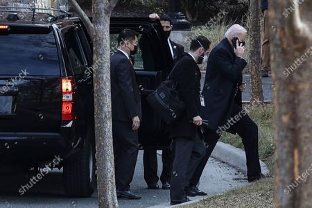 Stock Picture of President Joe Biden arrives at the Georgetown University campus in Washington, D.C. President Biden is expected to receive his ashes for Ash Wednesday from Rev. Brian McDermott at Georgetown University, Wolfington Hall.