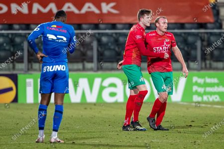 Oostende's Marko Kvasina and Oostende's Kevin Vandendriessche celebrate after winning a soccer match between KV Oostende and KRC Genk, Wednesday 17 February 2021 in Oostende, a postponed game of day 26 of the 'Jupiler Pro League' first division of the Belgian championship. The game was scheduled for last Saturday, but frost made the pitch unplayable.