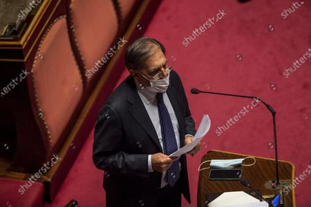 Ignazio La Russa attends the debate ahead of the confidence vote on the new Italian government at the Italian Senate, in Rome, Italy, 17 February 2021. Mario Draghi, will present his political priorities to the Senate before a vote of confidence on the government formed by the former head of the European Central Bank is held in the upper house of parliament.