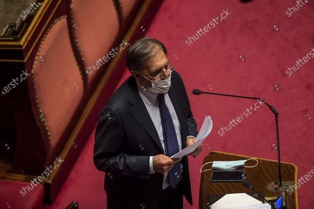 ROME, ITALY - FEBRUARY 17: Ignazio La Russa attends the debate ahead of the confidence vote on the new Italian government at the Italian Senate, on February 17, 2021 in Rome, Italy. The new President of the Italian Council, Mario Draghi, will present his political priorities to the Senate before a vote of confidence on the government formed by the former head of the European Central Bank is held in the upper house of parliament. (Photo by Antonio Masiello/Getty Images)