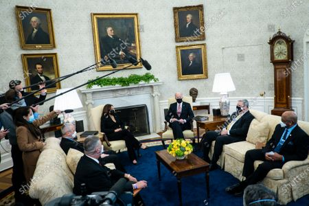 US President Joe Biden and Vice President Kamala Harris meet with a group of labor leaders to discuss the American Rescue Plan and to get input on the President's infrastructure plan, at the White house in Washington, DC, USA, 17 February 2021. The meeting was attended by Richard Trumka, President, American Federation of Labor and Congress of Industrial Organizations (AFL-CIO), Elizabeth H. Shuler, Secretary-Treasurer, American Federation of Labor and Congress of Industrial Organizations (AFL-CIO), James T. Callahan, General President, International Union of Operating Engineers (IUOE), Eric Dean, General President, Ironworkers International Union (IW), Robert Martinez, Jr., International President, International Association of Machinists and Aerospace Workers (IAMAW), Sean McGarvey, President, North America's Building Trades Union (NABTU), Mark McManus, General President, United Association Union of Plumbers, Fitters, Welders, & Service Techs (UA), Terry O'Sullivan, General President, Laborers' International Union of North America (LIUNA), Kenneth E. Rigmaiden, General President, International Union of Painters and Allied Trades (IUPAT), and Lonnie Stephenson, International President, International Brotherhood of Electrical Workers (IBEW).