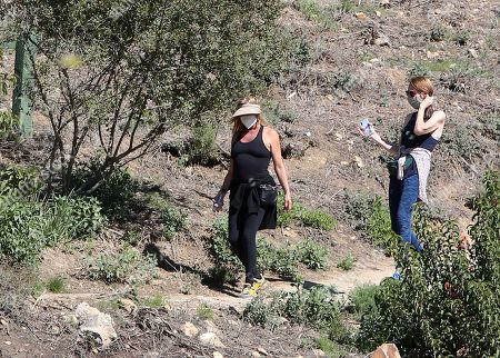 Goldie Hawn is seen going for a hike