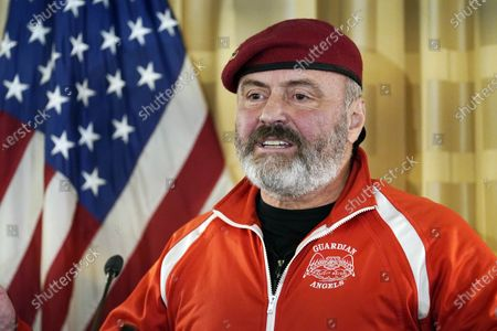 New York mayoral candidate, Guardian Angels founder and radio talk show host Curtis Sliwa speaks at a news conference, in New York. Sliwa is a candidate for New York mayor. New York City's next mayor will face challenges as big as any in city history, including leading the recovery from the coronavirus pandemic and tackling centuries of racial inequity in policing, education and health care