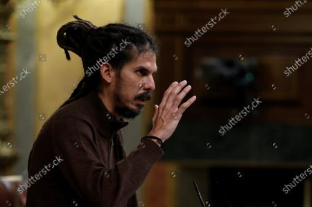Spanish left Unidas Podemos (United We Can) party's MP Alberto Rodriguez delivers a speech during a plenary session at the Lower Chamber, in Madrid, Spain, 18 February 2021.