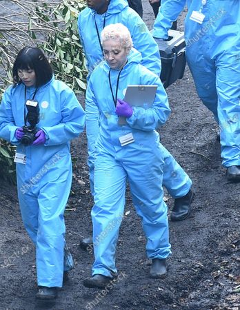 Stock Picture of Amanda Abbington is pictured filming the new Sky Forensic Crime Series Wolfe