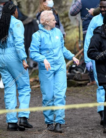 Amanda Abbington is pictured filming the new Sky Forensic Crime Series Wolfe