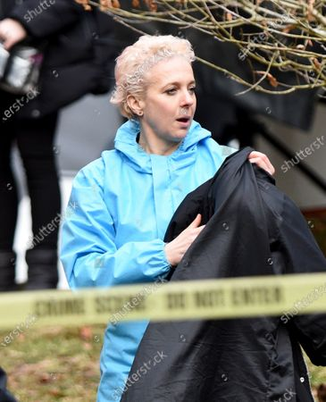 Stock Image of Amanda Abbington is pictured filming the new Sky Forensic Crime Series Wolfe