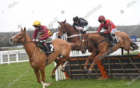 (R) Midnight River (Harry Skelton) takes the last on the first circuit before going on to win The greatbritishstallion-showcase.co.uk Novices Hurdle Race from (C) Gallyhill (Nico de Boinville) and (L) One True King (Sam Twiston-Davies).Photo © Hugh Routledge.