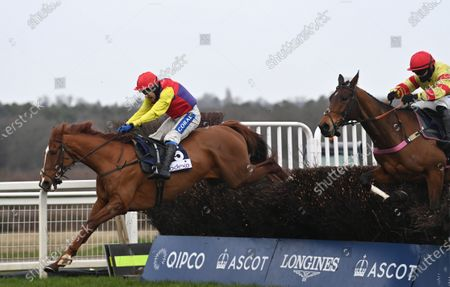 (L) Remastered (Tom Scudamore) takes the last before going on to win The Bateaux London Reynoldstown Novices Steeple Chase from (R) Demachine (Richard Patrick).Photo © Hugh Routledge.