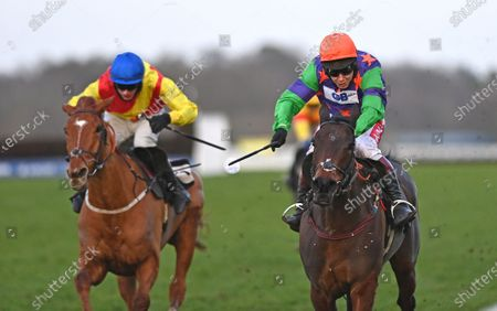 (R) Code Name (Richard Johnson) wins The Dingles Promise British EBF Mares Standard Open National Hunt Flat Race from (L) Miss Fairfax (Tom OBrien).Photo © Hugh Routledge.