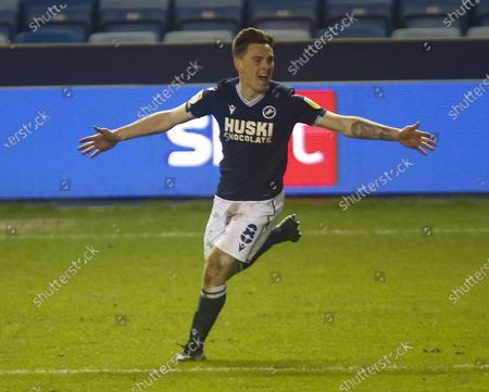 Ben Thompson of Millwall celebrates his goal during The Sky Bet Championship between Millwall and Birmingham City at The Den Stadium, London on 17th February, 2021 (Photo by Action Foto Sport/NurPhoto)
