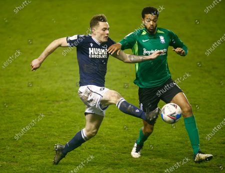 L-R Ben Thompson of Millwall takes on Birmingham City's Jake Clarke-Salter (on loan from Chelsea) during The Sky Bet Championship between Millwall and Birmingham City at The Den Stadium, London on 17th February, 2021 (Photo by Action Foto Sport/NurPhoto)