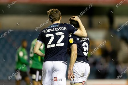 Ben Thompson of Millwall celebrates with Jón Daði Böðvarsson after scoring a goal during the Sky Bet Championship match between Millwall and Birmingham City at The Den, London on Wednesday 17th February 2021.  (Photo by Juan Gasperini/MI News/NurPhoto)