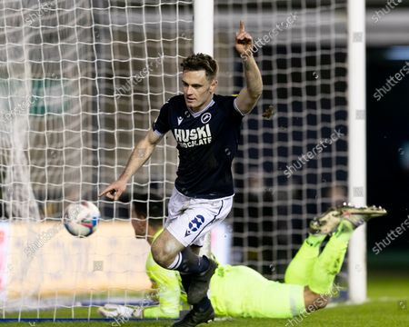 Ben Thompson of Millwall celebrates after scoring their sides second goal during the Sky Bet Championship match between Millwall and Birmingham City at The Den, London on Wednesday 17th February 2021.  (Photo by Juan Gasperini/MI News/NurPhoto)