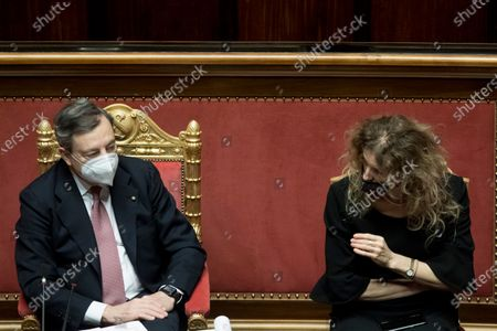 Italian Prime Minister Mario Draghi , Minister of Disability Erika Stefani at the Senate for a confidence vote on his new government