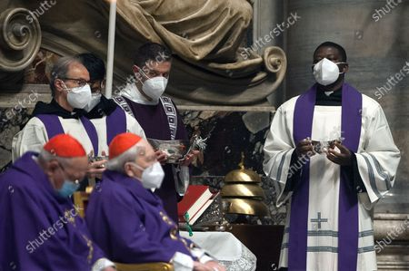 Celebration Ash Wednesday mass in St. Peter's Basilica at the Vatican