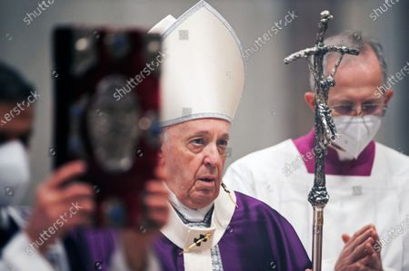 Pope Francis celebrates Ash Wednesday mass in St. Peter's Basilica at the Vatican
