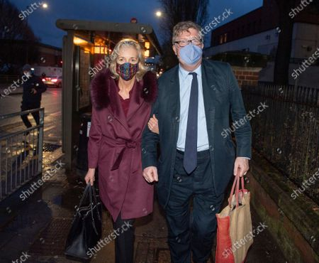 Hedge Fund manager Crispin Odeyleaves Hendon Magistrates with wife Nichola Pease this evening for the start of his assault trial