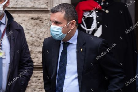 Gian Marco Centinaio leaves the Senate building after the speech before the confidence vote on the Italian government
