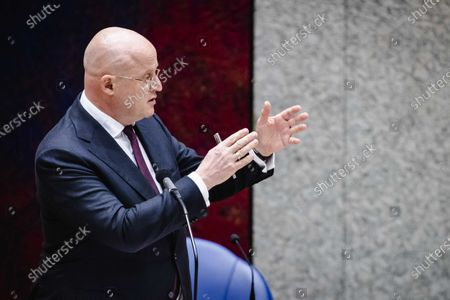 Dutch Justice Minister Ferdinand Grapperhaus during the debate on the new emergency law on the curfew, in the Senate, in The Hague, The Netherlands, 18 February 2021. The Dutch cabinet brought up the new law within a day, after the court in The Hague declared the curfew invalid.